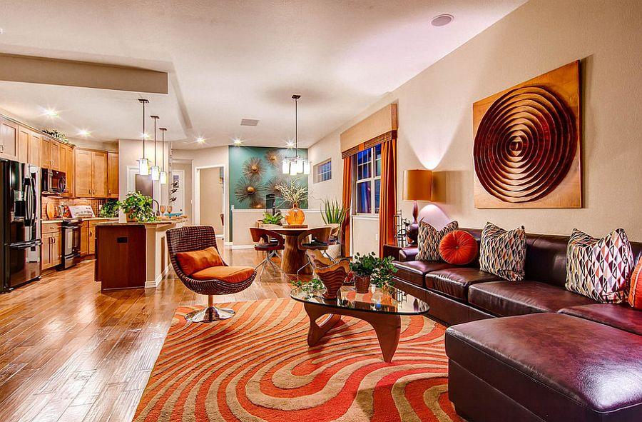 Contemporary living room gets copper sheen with metallic wall art [Design: Boulder Creek Neighborhoods]