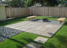 Contemporary paver patio in a clean-lined yard