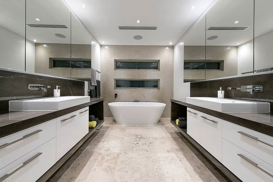 Cool contemporary bathroom with a freestanding bathtub
