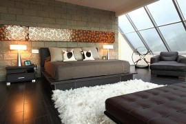 Custom art piece from Bernadette Capellaro above the bed [From: Cantoni]