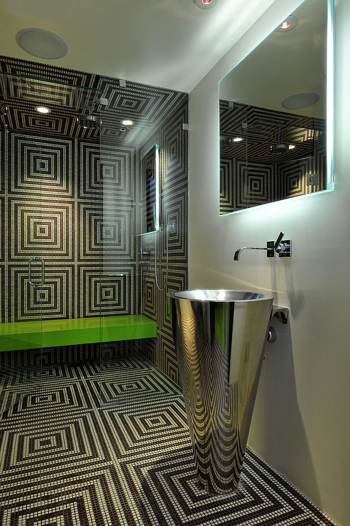 Custom-made mosaic pattern for the hip modern bathroom [Design: Elevation Architectural Studios]