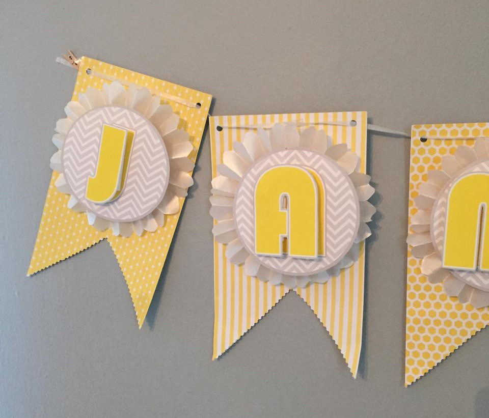 diy baby shower banner details
