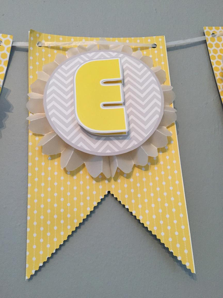 DIY Baby Shower Banner Yellow and Grey