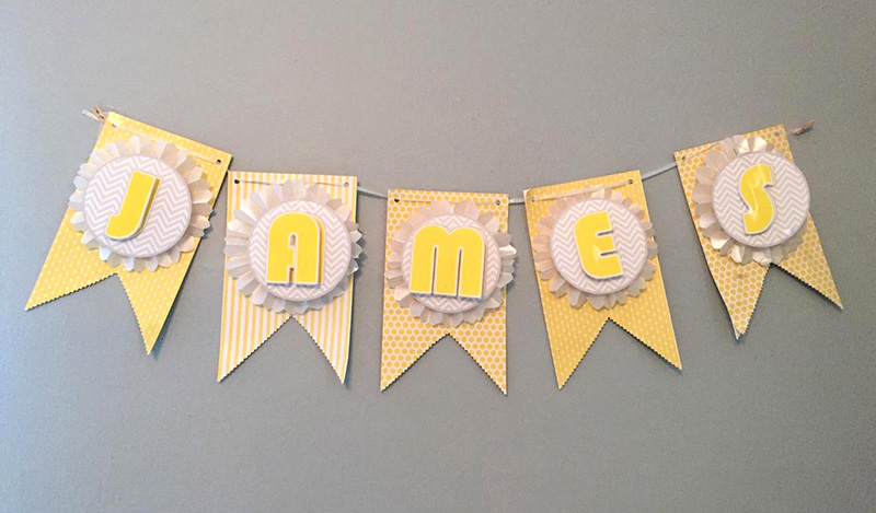 DIY Baby Shower Banner Yellow