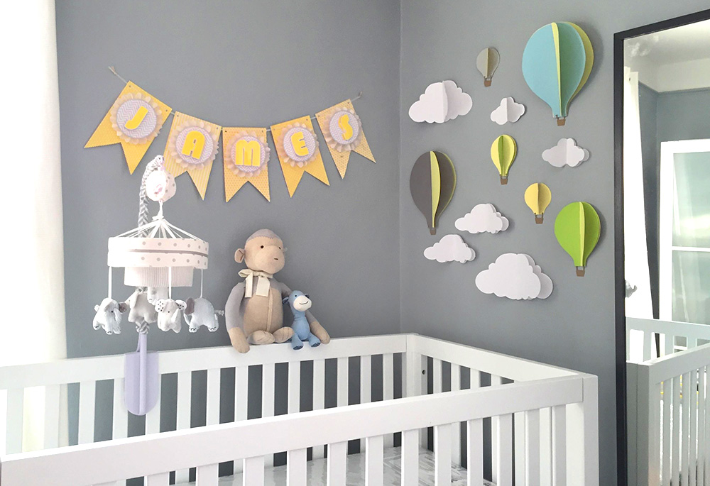 View In Gallery DIY Yellow And Grey Theme Baby Shower Banner
