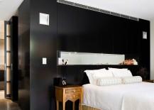 Dark bedroom accent wall in black