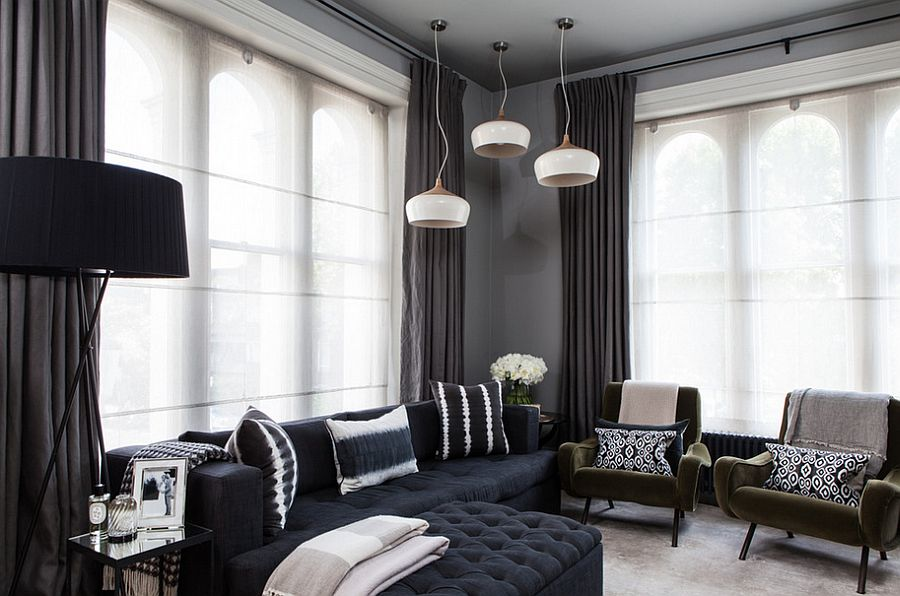 Dark drapes look as elegant as lighter, whiter versions when used right [From: Simon Eldon Photography]