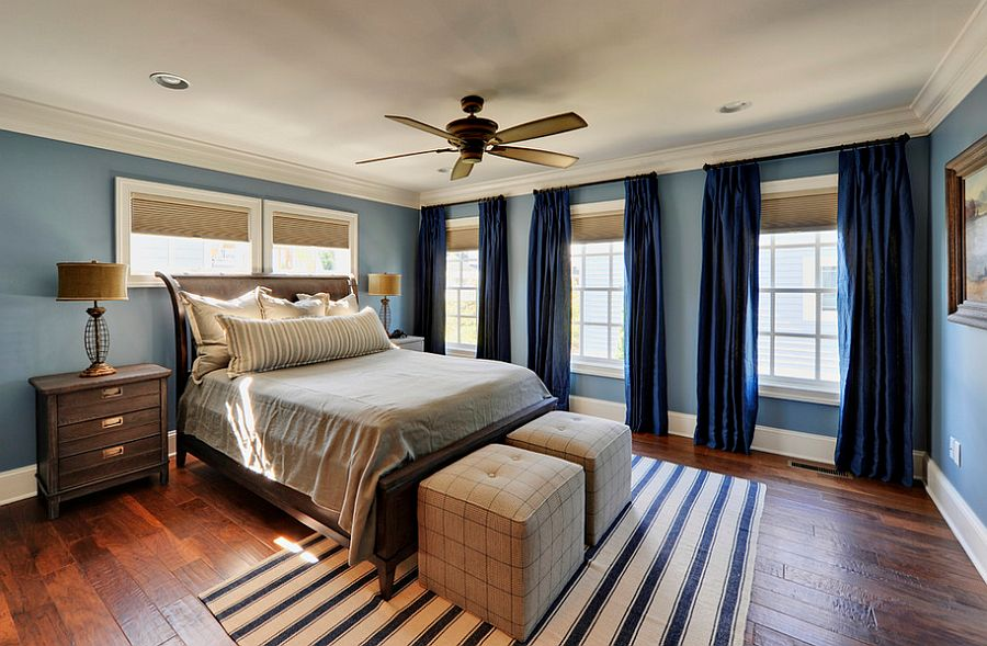 Deep navy curtains for the transitional bedroom [Design: Echelon Custom Homes]