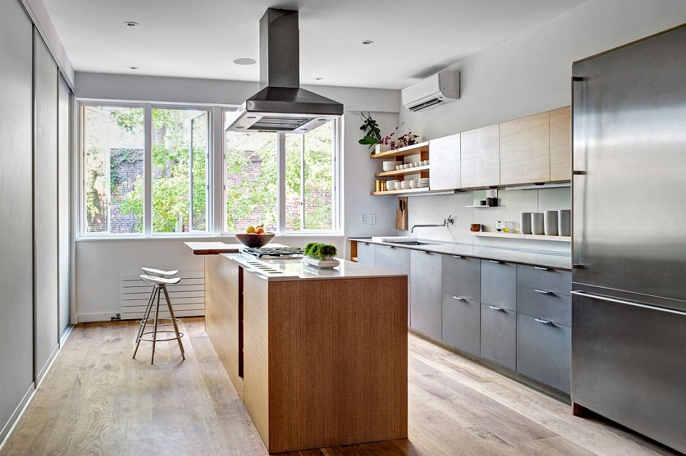 Delightful modern kitchen with a smart island and wooden shelves