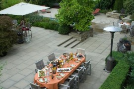 Dining area on a paver patio