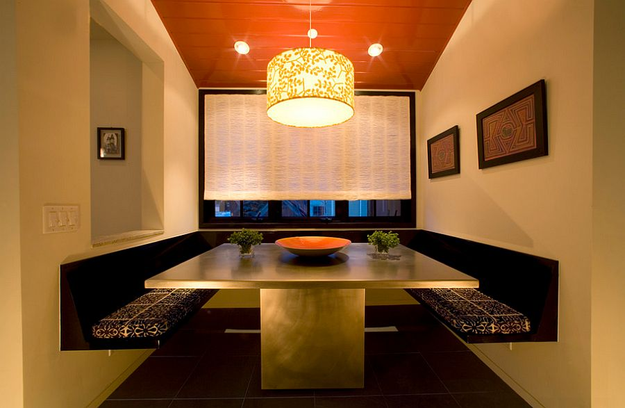 ... Dining Booth At Home With A Sophisticated Restaurant Ambiance [Design:  Margaret Carter Interiors]