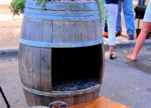 Old wine barrel turned into a doghouse