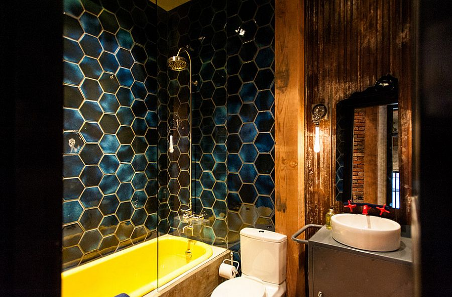 Eclectic industrial bathroom with plenty of color and pattern [Design: Beyond Beige Interior Design]