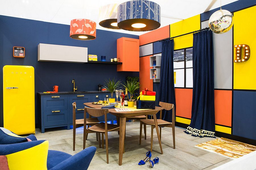 Eclectic kitchen in London full of color [Design: Amanda Neilson Interiors]