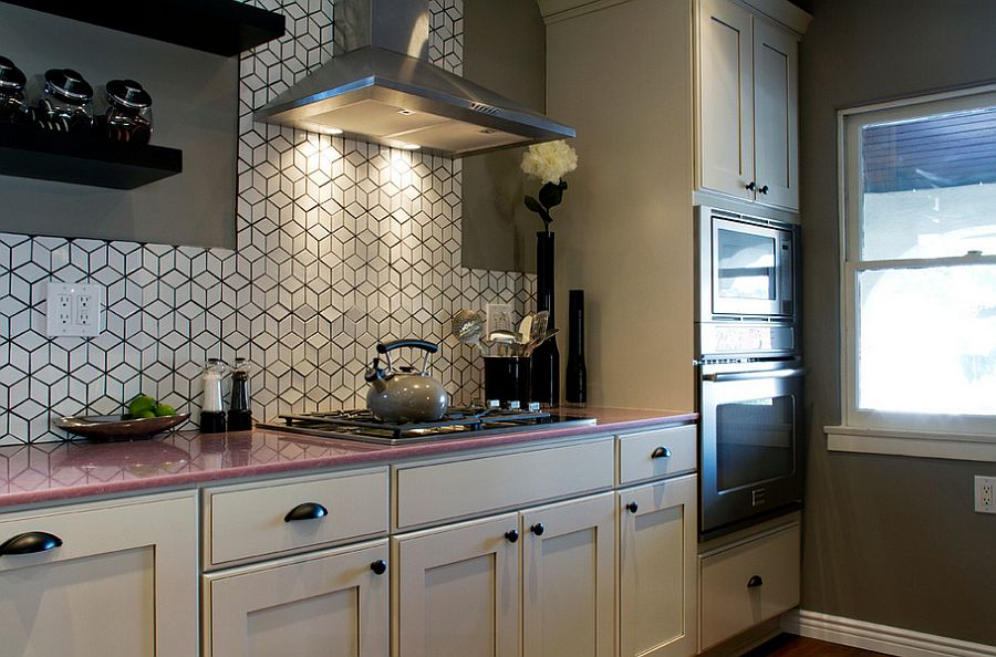 Eclectic kitchen with geometric tile backsplash from Heath Ceramics [Design: Brunelleschi Construction]