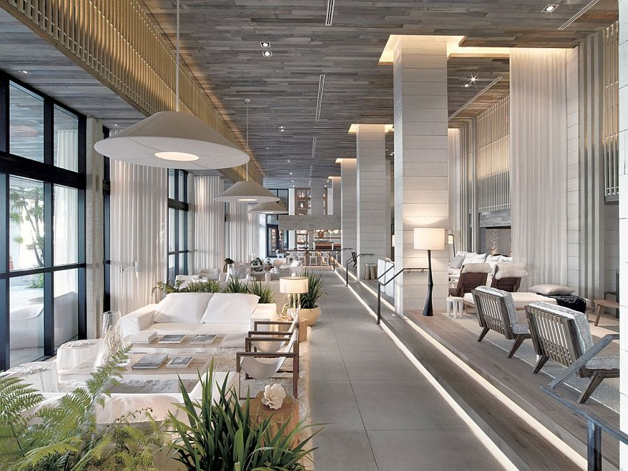 Elegant interiors of the 1 Hotel South Beach with a relaxing beach vibe