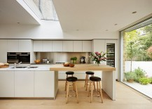 Elegant kitchen in white with a skylight 217x155 50 Modern Scandinavian Kitchens That Leave You Spellbound