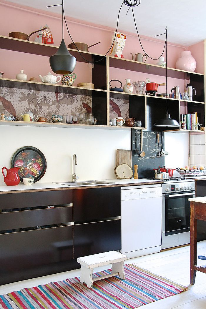 Black and pink inside the cool Scandinavian style kitchen [From: Holly Marder]