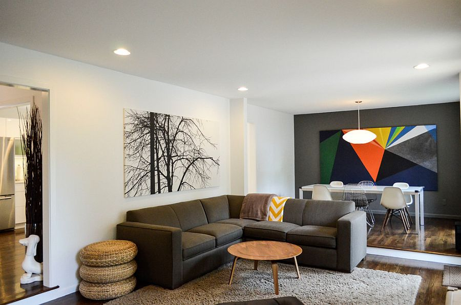Exclusive art work in the living creates visual contrast  [Design: Owen Homes]