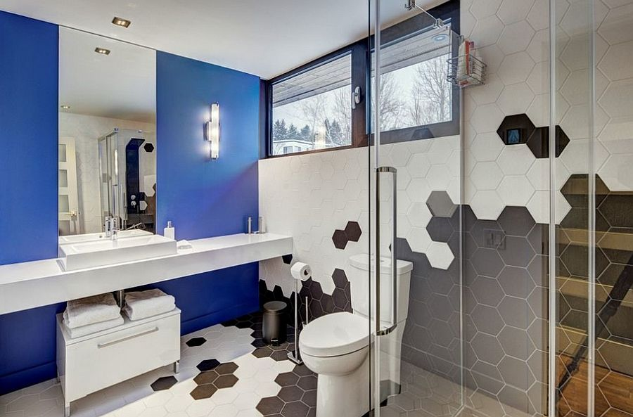 Exquisite bathroom with a splash of blue and hexagonal tiles [Design: Josée Lemire]