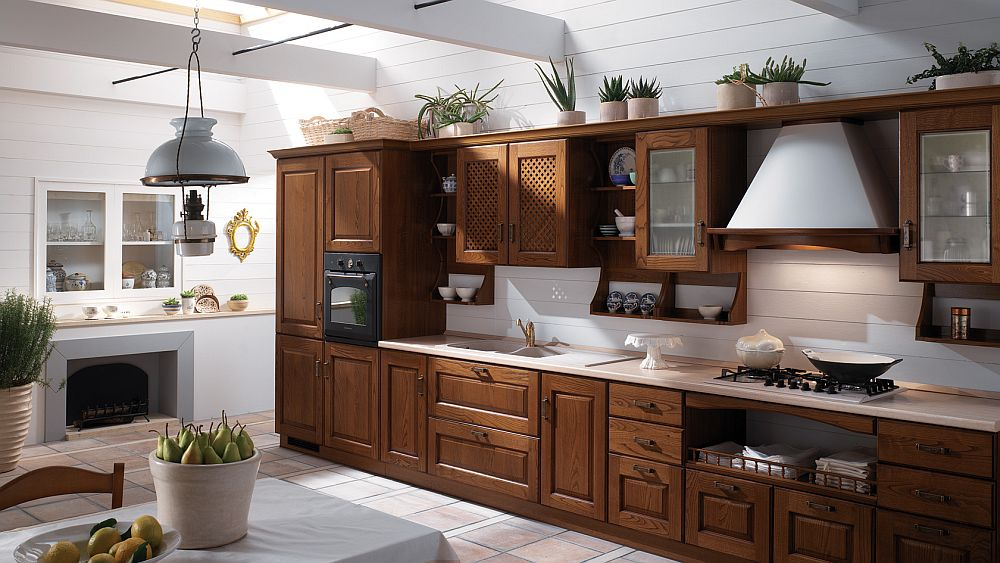 Exquisite kitchen from Scavolini in Chestnut Wood with modern aesthetics