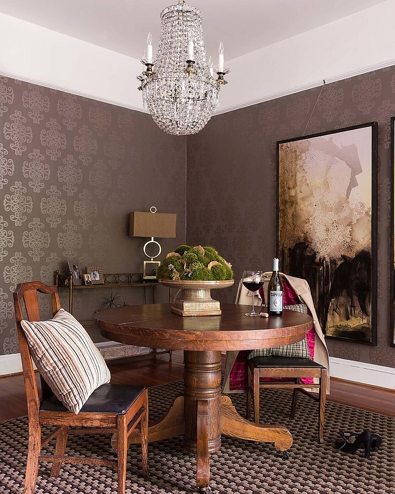 Exquisite painting blends into the wallpapered backdrop [Design: MBG Interiors]