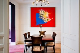 Eye-catching painting becomes the central focus of this elegant dining room [Design: Mike ALLEG]