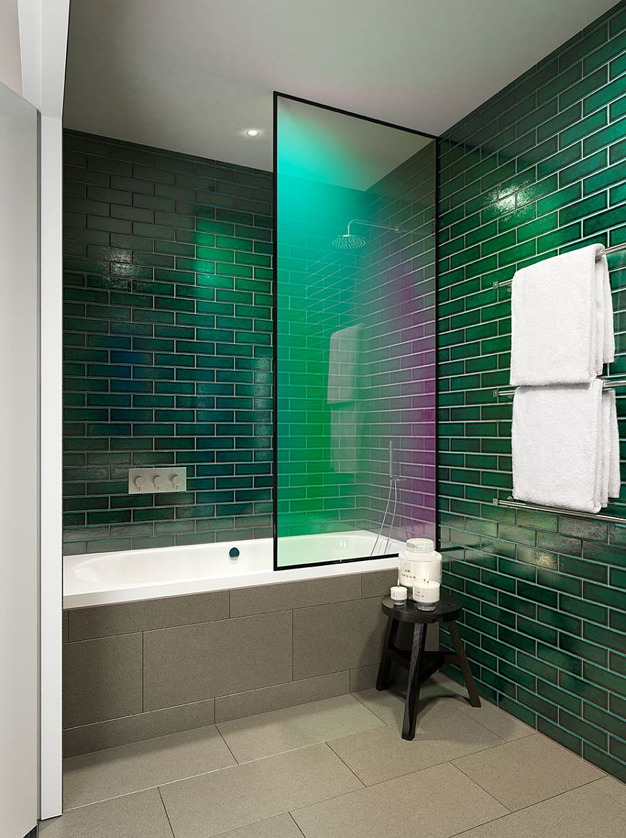 Fabulous use of bright colors in the contemporary bathroom