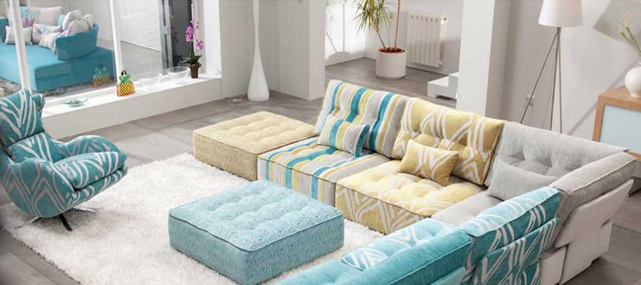 Fama Arianne Low Cushion Seating in Blue and yellow