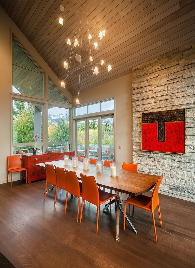 Fill the contemporary dining room with orange in style! [Design: Tommy Hein Architects]