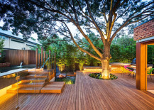 Lighting adds to the beauty of the expansive deck