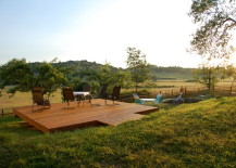 Gorgeous countryside landscape with a floating deck