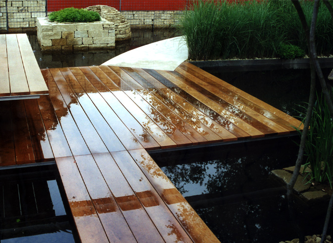 A floating deck over water can be enjoyed in any weather