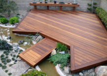 Backyard floating deck over a small stream