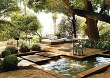 Tropical landscape design with floating deck