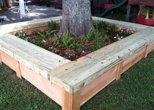 Flower bed tree bench