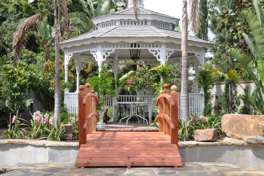 Gazebo surrounded by tropical plants