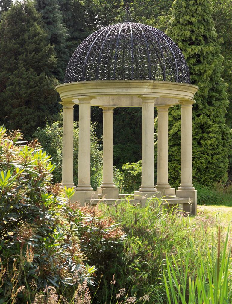 Gazebo with pillars at a country house