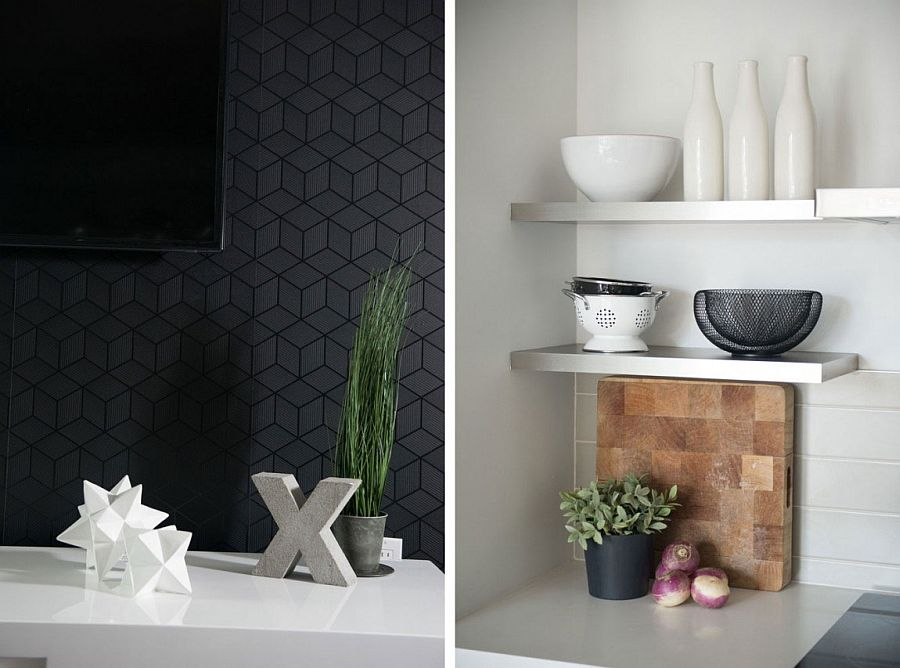 Geometric gray tiles for the living room