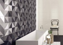 Geometric tiles add intrigue to the bathroom without disturbing the color scheme