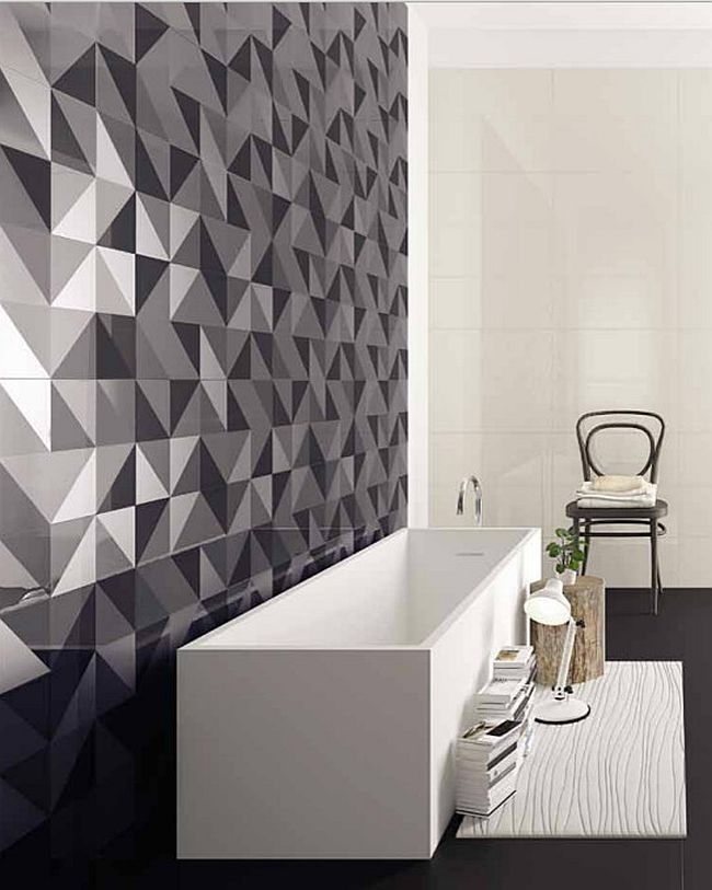 Geometric tiles add intrigue to the bathroom without disturbing the color scheme [From: VIVA Ceramica]