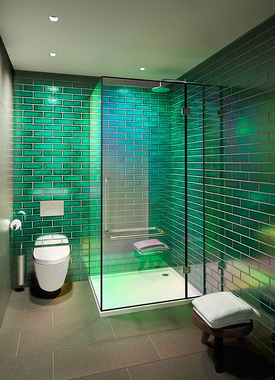 Glass shower area inside the bathroom