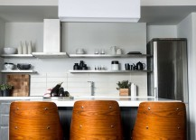 Gorgeous bar stools add wooden warmth to smart kitchen
