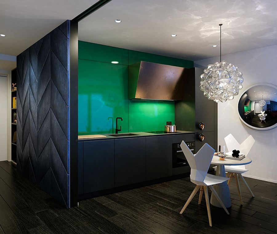 Gorgeous green and black in the kitchen