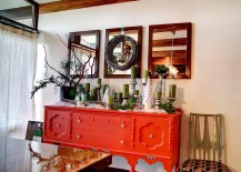 Grandma's buffet painted in fiery orange for the festive dining room