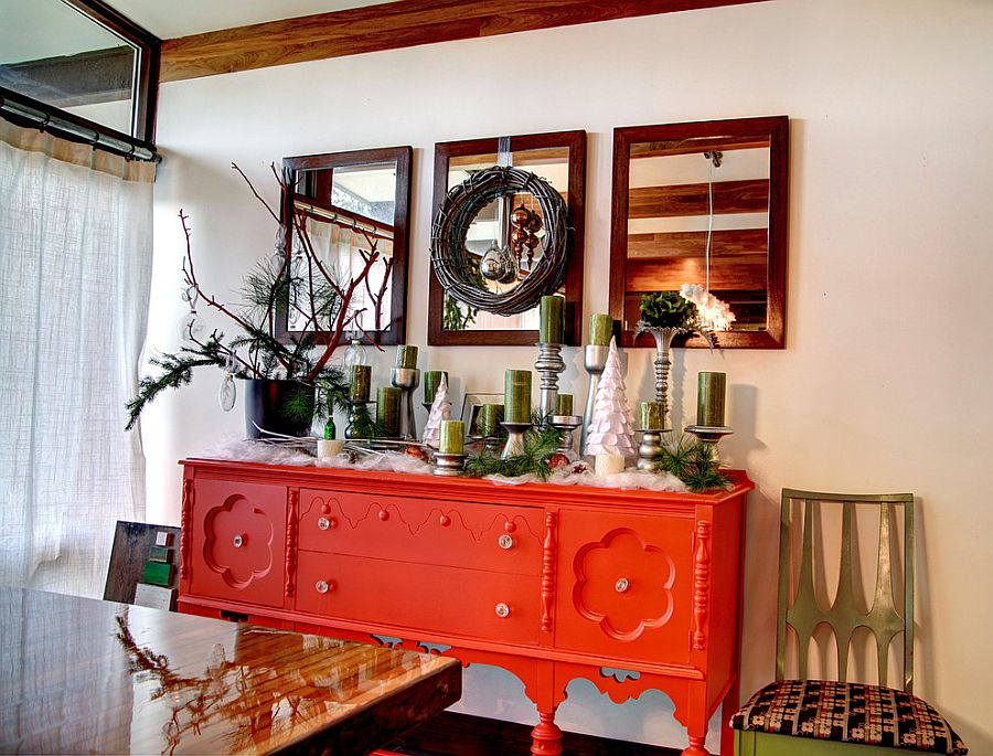 Grandma's buffet painted in fiery orange for the festive dining room [Design: Mindi Freng Designs]