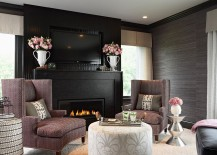 Grasscloth wallpaper brings textural contrast to the dark living room [Design: Lucy Interior Design]