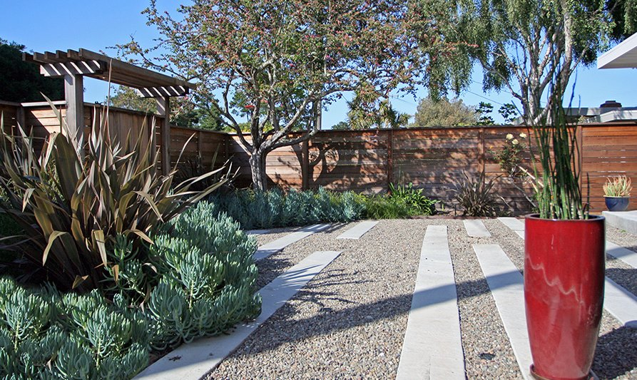 Gravel and concrete strips in an outdoor space