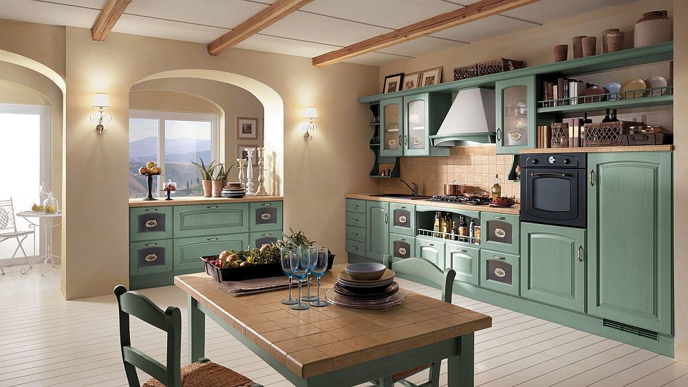 Green ash wood adds color and class to the exqusite Madeleine kitchen range 14 Dreamy Italian Kitchens Laced with Refined Traditional Charm
