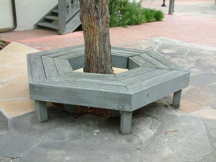 Grey hexagonal tree bench  Tree Bench Ideas for Added Outdoor Seating Grey hexagonal tree bench